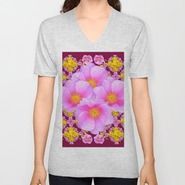 Pink & Yellow Burgundy Rose Flowers Art Unisex V-Neck