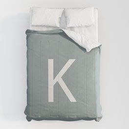 Letter K Initial Monogram - White on Concret Comforters