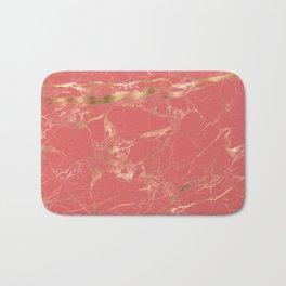 Marble, Coral + Gold Veins Bath Mat