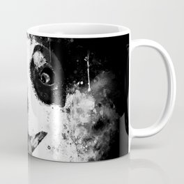 jack russell terrier dog crazy eyes ws bw Coffee Mug