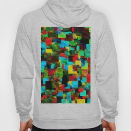 psychedelic geometric square pixel pattern abstract in red blue green yellow Hoody
