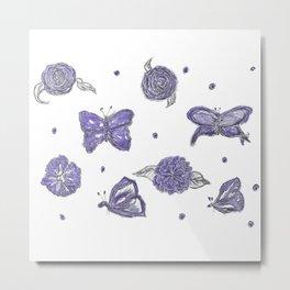 Butterfly flutterby purple Metal Print