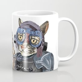 Naughty Pilot Cat with Laser Gun and Heavy Armor Coffee Mug