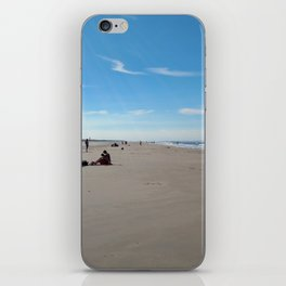 low tide sand beach sunny summer day at ouddorp zeeland netherlands europe iPhone Skin