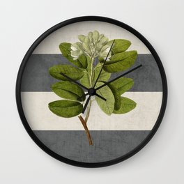 botanical stripes 5 -gray Wall Clock
