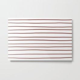Pantone Burnt Henna Red 19-1540 Hand Drawn Horizontal Lines on White Metal Print