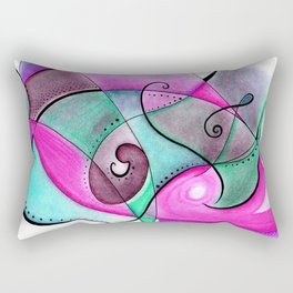 Turquoise and Purple Anxious Rectangular Pillow