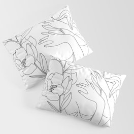 Minimal Line Art Woman with Peonies Pillow Sham
