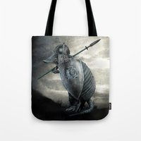 eric fan Tote Bags featuring Armadillo by Eric Fan & Viviana Gonzalez by Viviana Gonzalez