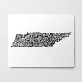Typographic Tennessee Metal Print