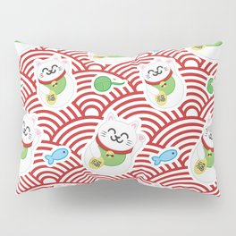 Maneki Neko / Lucky Cat Pillow Sham
