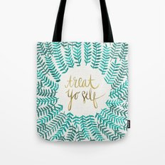 Treat Yo Self – Gold & Turquoise Tote Bag