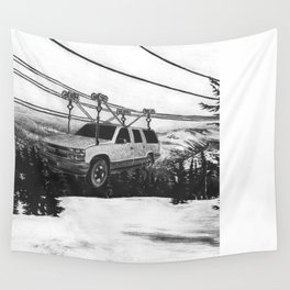 SUV Ski Lift Wall Tapestry