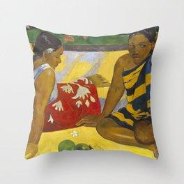 Parau Api / What's news? by Paul Gauguin Throw Pillow