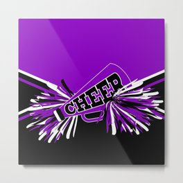 Purple, Black and White Cheerleader Design Metal Print