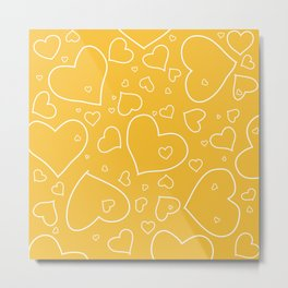 Mustard Yellow and White Hand Drawn Hearts Pattern Metal Print