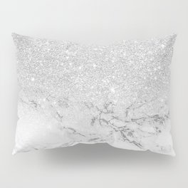 Modern faux grey silver glitter ombre white marble Pillow Sham