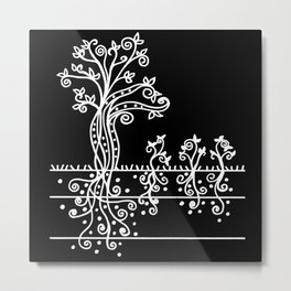 Strong Roots - White Black Metal Print