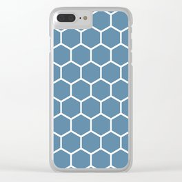 Grayish blue and white honeycomb pattern Clear iPhone Case