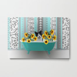 Bathtub with black and white cat - sunflower Metal Print