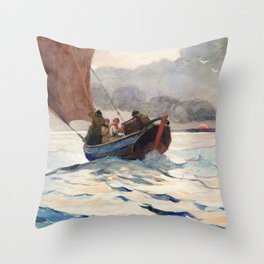 Winslow Homer1 - Returning Fishing Boats - Digital Remastered Edition Throw Pillow