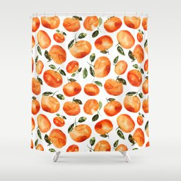 Watercolor tangerines Shower Curtain