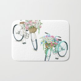 Two Vintage Bicycles With Flower Baskets Bath Mat