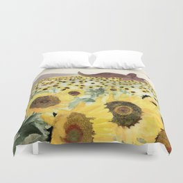 Cretaceous Period Sunflower Field Duvet Cover