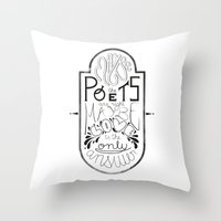 lettering Throw Pillows featuring Lettering (Maybe) by Lucia Prieto Moreno
