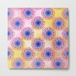 Teardrop Concentric Circle Pattern (Pink,Yellow) Metal Print