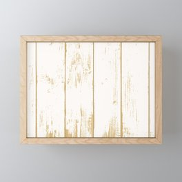 Rustic wooden texture. White and gold antique wood. Framed Mini Art Print