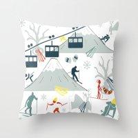 ski Throw Pillows featuring SKI LIFTS by BLUE VELVET DESIGNS