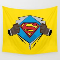 superman Wall Tapestries featuring Superman  by Wave Sports