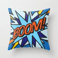 comic book Throw Pillows featuring Comic Book BOOM! by Thisisnotme