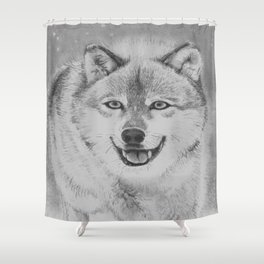 Wolf pENciL drAwiNg Shower Curtain