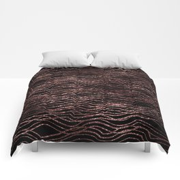 sparkling rose waves Comforters