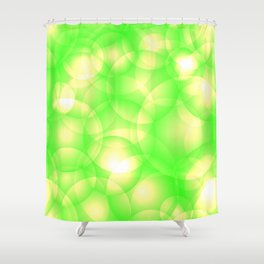 Gentle intersecting green translucent circles in pastel colors with a spring glow. Shower Curtain