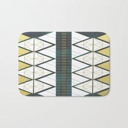 Modern Gold Aqua Geometric Pattern Bath Mat