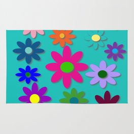 Flower Power - Teal Background - Fun Flowers - 60's Style - Hippie Syle Rug