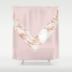 Queen pink - rose gold chevron Shower Curtain
