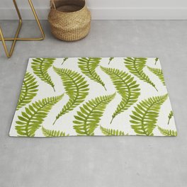 Bright green watercolor fern pattern Rug