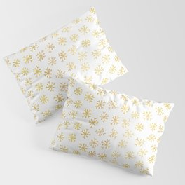 Luxe Golden Foil Snowflake Seamless Pattern Background, Elegant Hand Drawn Pillow Sham