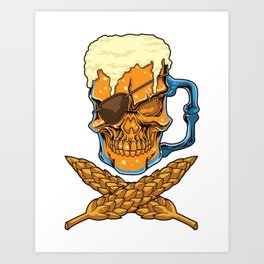 Beer Skull - Brewer Pirate - Brewery Art Print