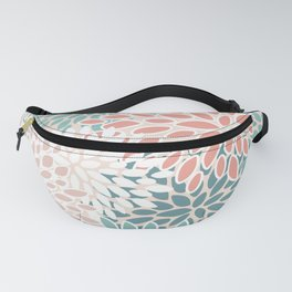 Flower Pattern, Teal, Blush,Coral, Peach Fanny Pack