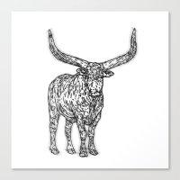 bull Canvas Prints featuring Bull by Takashi  Ariyoshi