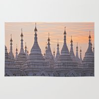 buddhism Area & Throw Rugs featuring Sandamani Pagoda, Mandalay, Myanmar by Maria Heyens