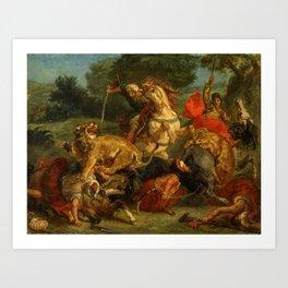 """Eugène Delacroix """"Lion Hunt"""" (1855) Art Print"""