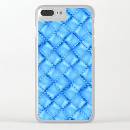 Perfect Light Blue Leather Texture (hand embroidered) Clear iPhone Case