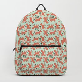 Orange Minimal Cat Backpack