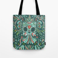 calavera Tote Bags featuring Calavera Cat by Anna Alekseeva kostolom3000
